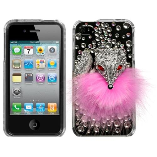Insten Fox Hard 3D Crystal Cover Case w/Diamond For Apple iPhone 4/4S, Pink/Clear