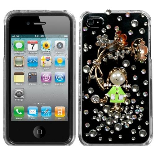 Insten Debby Hard 3D Cover Case w/Diamond For Apple iPhone 4/4S, Green/Clear