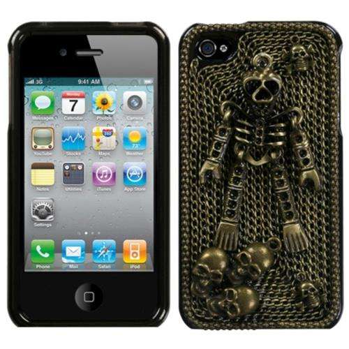 Insten Bronzed Skeleton Chrome 3D Metallic Hard Case For Apple iPhone 4/4S, Gold/Black