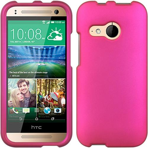 Insten Hard Rubber Coated Cover Case For HTC One Mini 2, Hot Pink