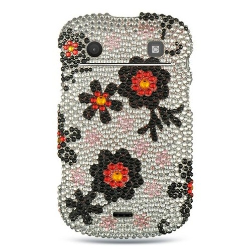 Insten Hard Diamante Case For BlackBerry Bold Touch 9900/9930, Silver/Black