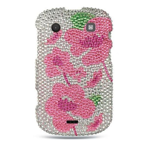 Insten Hard Bling Case For BlackBerry Bold Touch 9900/9930, Silver/Pink