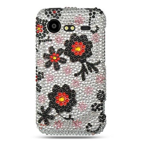 Insten Hard Diamond Cover Case For HTC Droid Incredible 2 6350, White/Black