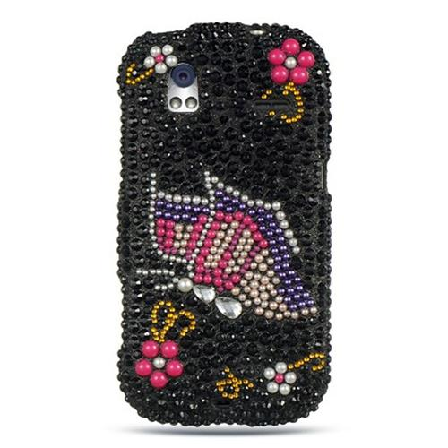 Insten Hard 3D Diamante Cover Case For HTC Amaze 4G, Black/Pink