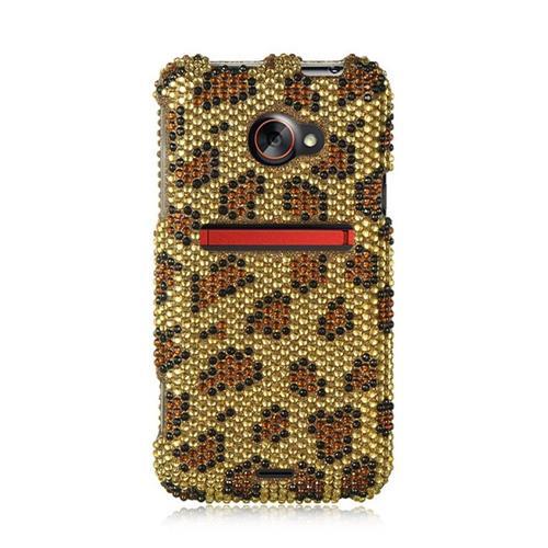 Insten Hard Rhinestone Cover Case For HTC EVO (LTE version), Gold/Brown