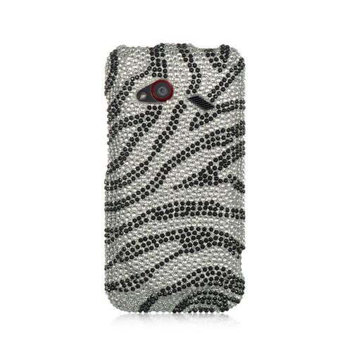 Insten Hard Diamante Case For HTC Droid Incredible (LTE version), Silver/Black