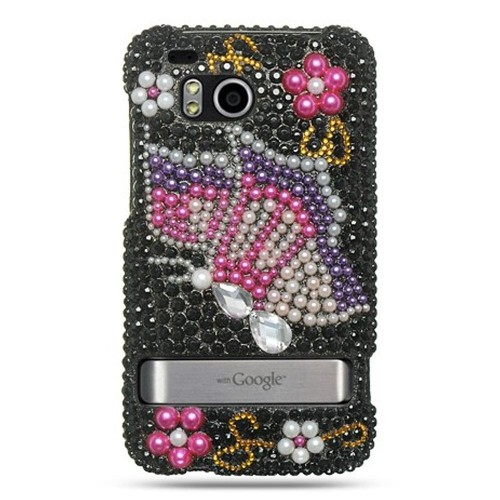 Insten Hard 3D Diamante Case For HTC ThunderBolt 4G, Black/Pink
