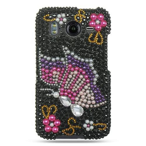 Insten Hard 3D Bling Cover Case For HTC Inspire 4G, Black/Pink