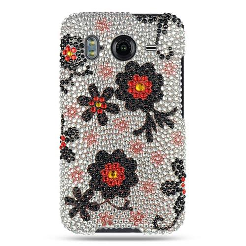 Insten Hard Rhinestone Case For HTC Inspire 4G, White/Black