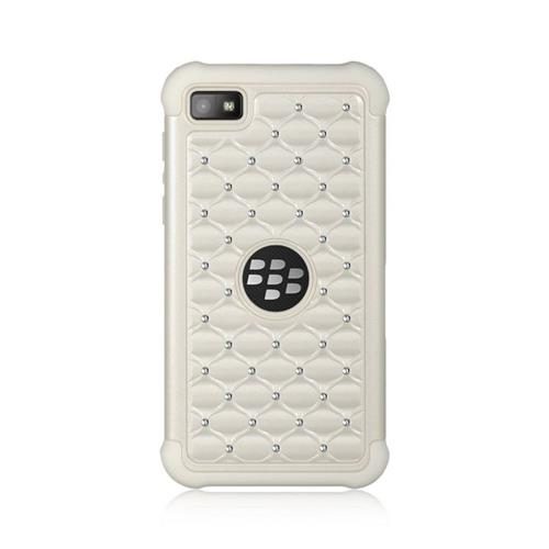 Insten Hard Dual Layer TPU Cover Case w/Diamond For BlackBerry Z10, White