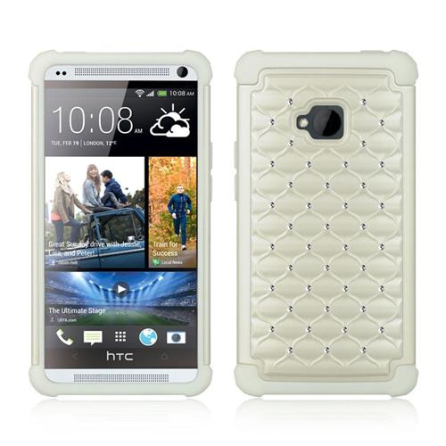 Insten Hard Dual Layer TPU Case w/Diamond For HTC One M7, White