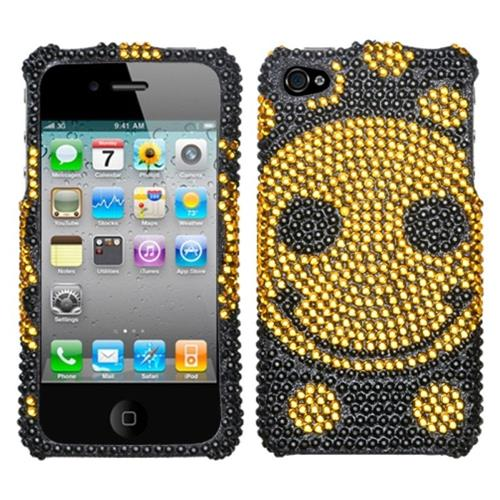 Insten Hard Diamond Cover Case For Apple iPhone 4/4S, Black/Yellow