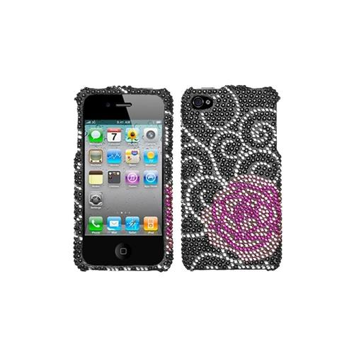 Insten Rosey Hard Bling Case For Apple iPhone 4/4S, Black/Pink