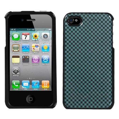 Insten Fitted Hard Shell Case for iPhone 4 / 4S - Blue/Black