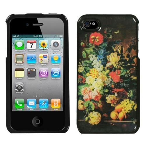 Insten Blossom Flowers Hard Cover Case For Apple iPhone 4/4S /Black