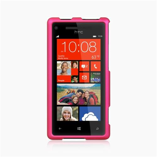 Insten Hard Rubber Cover Case For HTC Windows Phone 8X, Hot Pink