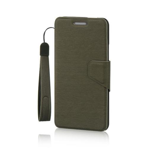 Insten Book-Style Leather Fabric Case Lanyard w/stand/card slot For HTC One M7, Gray