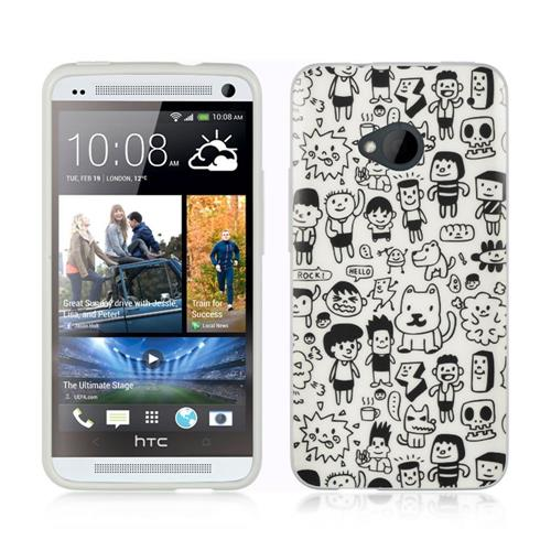 Insten Rubber Cover Case For HTC One M7, White/Black