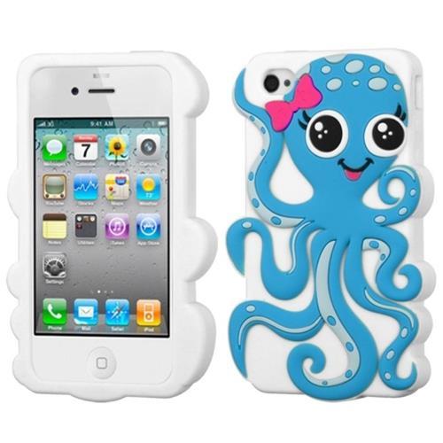 Insten Octopus Gel 3D Rubber Case For Apple iPhone 4/4S, White/Light Blue