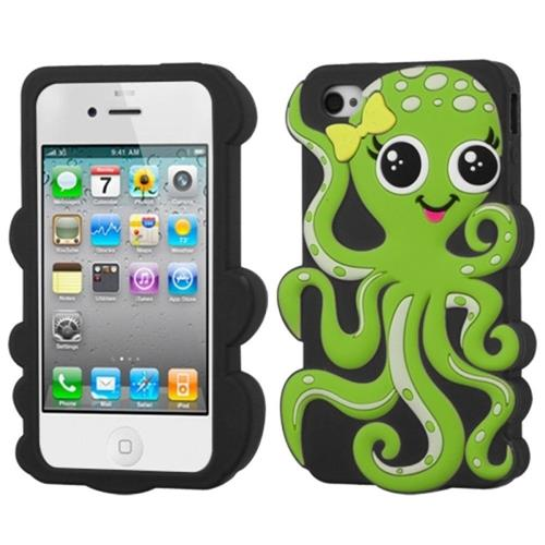 Insten Octopus Soft 3D Rubber Cover Case For Apple iPhone 4/4S, Black/Green