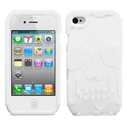 Insten Skullcap Gel Rubber Case For Apple iPhone 4/4S, White