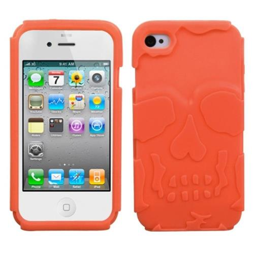 Insten Skullcap Skin Rubber Cover Case For Apple iPhone 4/4S, Orange