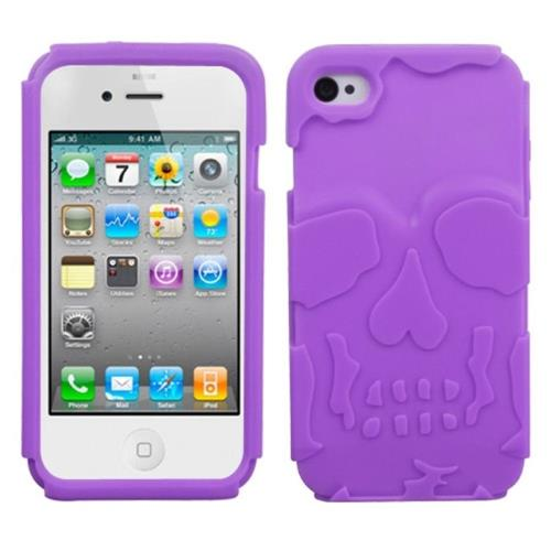 Insten Skullcap Gel Rubber Case For Apple iPhone 4/4S, Purple