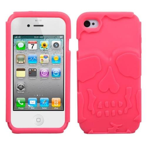 Insten Skullcap Soft Rubber Case For Apple iPhone 4/4S, Hot Pink