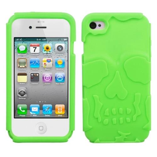 Insten Skullcap Rubber Case For Apple iPhone 4/4S, Green