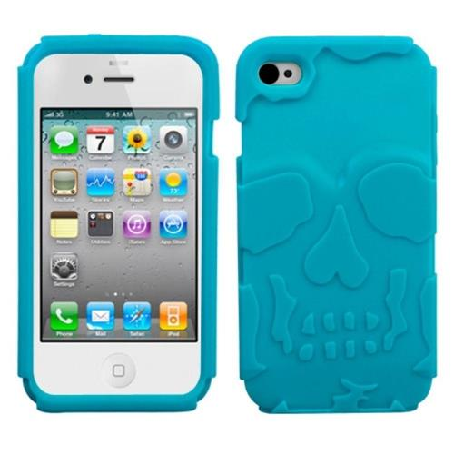 Insten Skullcap Skin Rubber Cover Case For Apple iPhone 4/4S, Turquoise