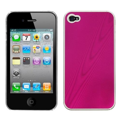 Insten Cosmo Aluminum Metallic Hard Case For Apple iPhone 4/4S, Pink/Clear