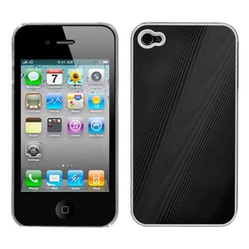 Insten Cosmo Aluminum Metallic Hard Cover Case For Apple iPhone 4/4S, Black/Clear