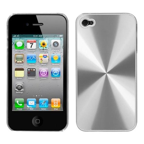 Insten Cosmo Aluminum Metallic Hard Case For Apple iPhone 4/4S, Silver/Clear