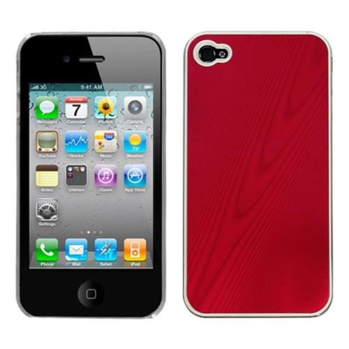 Insten Cosmo Aluminum Metallic Hard Case For Apple iPhone 4/4S, Red/Clear