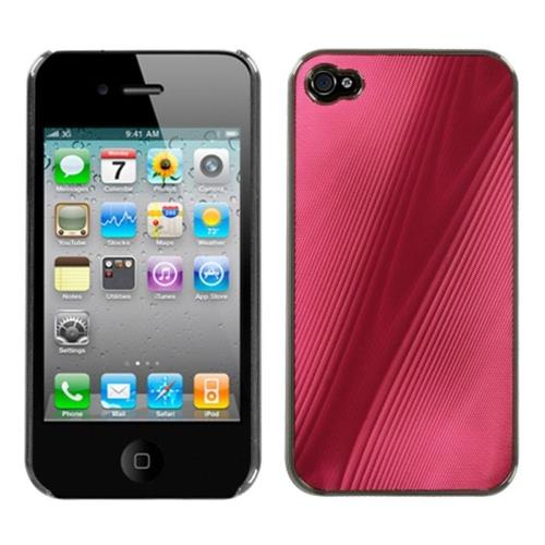 Insten Cosmo Aluminum Metallic Hard Case For Apple iPhone 4/4S, Red/Black