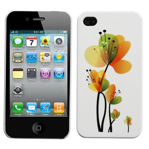 Insten Sunny Flowers Hard Case For Apple iPhone 4/4S /White