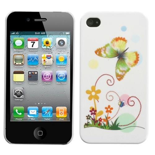 Insten Butterfly Hard Cover Case For Apple iPhone 4/4S, White/Colorful