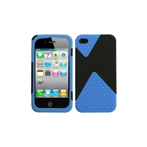Insten Dual Hard Layer Diamond TPU Case For Apple iPhone 4/4S, Black/Blue