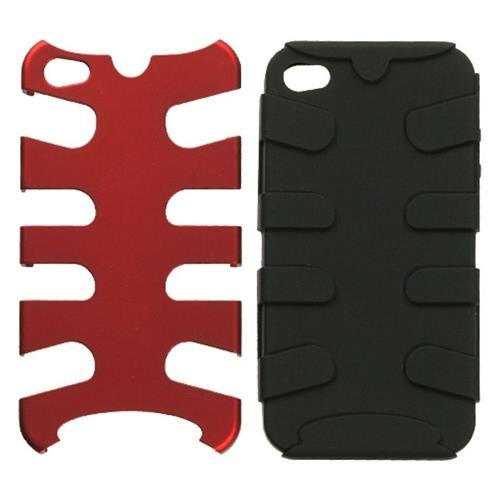 Insten Fishbone Hard Dual Layer Metallic Silicone Case For Apple iPhone 4/4S, Red/Black