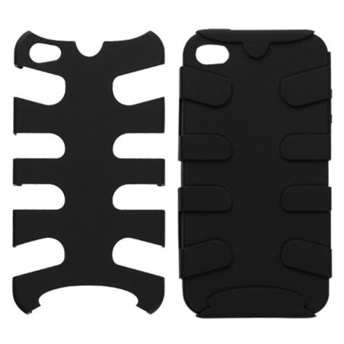 Insten Fishbone Hard Dual Layer Rubberized Silicone Cover Case For Apple iPhone 4/4S, Black