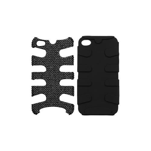Insten Fishbone Hard Dual Layer Bling Silicone Cover Case For Apple iPhone 4/4S, Black