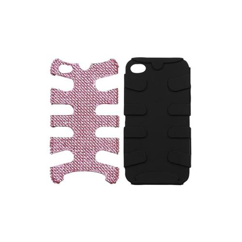 Insten Fishbone Hard Dual Layer Diamante Silicone Cover Case For Apple iPhone 4/4S, Pink/Black
