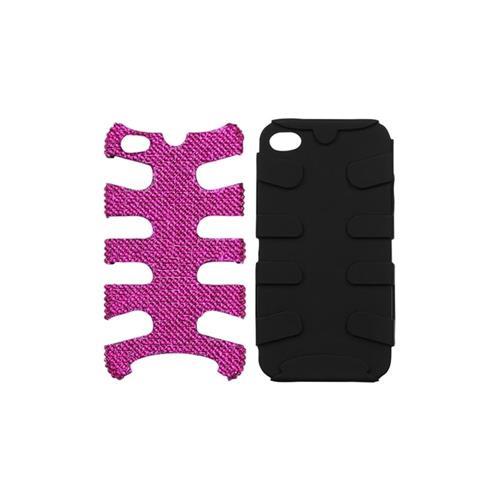 Insten Fishbone Hard Hybrid Diamond Silicone Case For Apple iPhone 4/4S, Hot Pink/Black