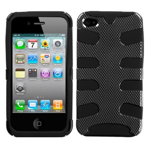 Insten Fishbone Carbon Fiber Hard Dual Layer Silicone Cover Case For Apple iPhone 4/4S, Black