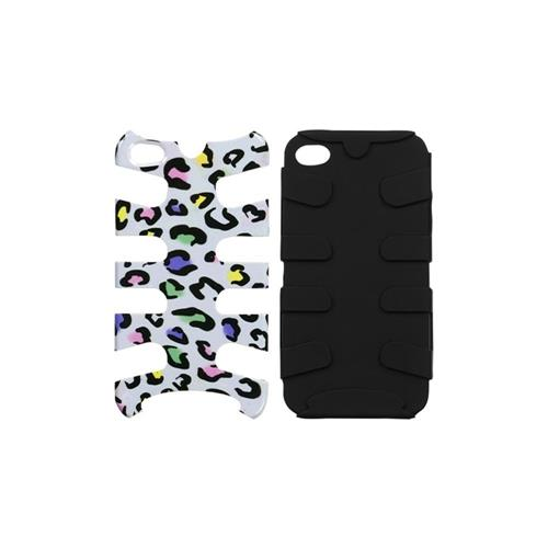 Insten Fishbone Leopard Hard Hybrid Silicone Cover Case For Apple iPhone 4/4S, Colorful/Black