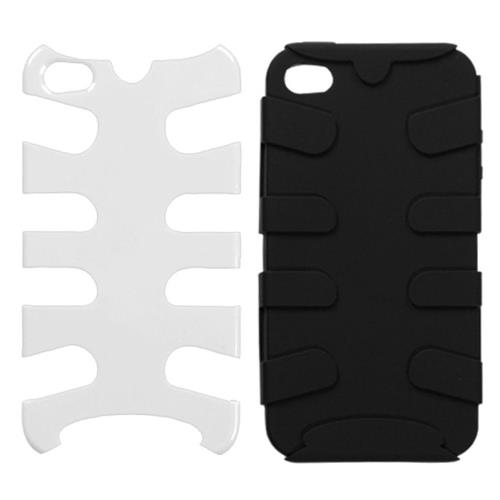 Insten Fishbone Hard Dual Layer Silicone Cover Case For Apple iPhone 4/4S, White/Black