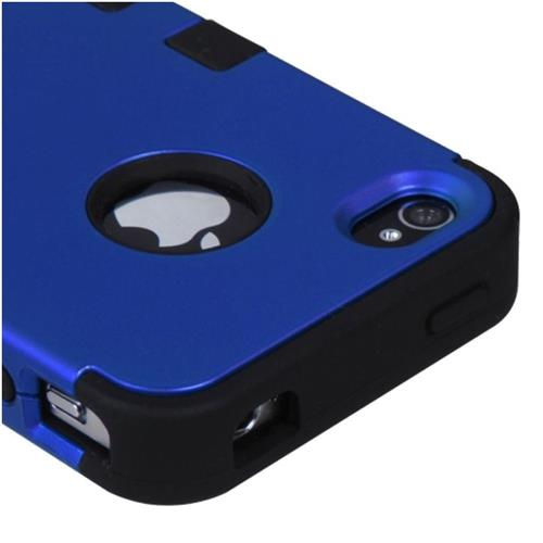 Insten Tuff Hard Hybrid Silicone Cover Case For Apple iPhone 4/4S, Dark Blue/Black