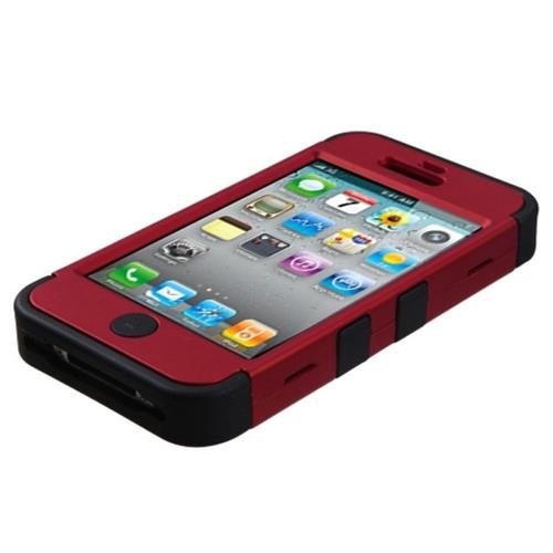 Insten Tuff Hard Hybrid Rubberized Silicone Case For Apple iPhone 4/4S, Red/Black