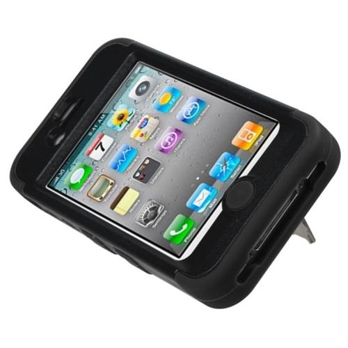 Insten Tuff Hard Dual Layer Rubberized Silicone Cover Case w/stand For Apple iPhone 4/4S, Black