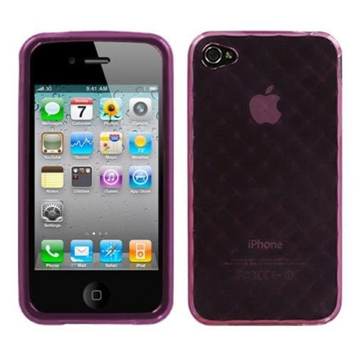 Insten Argyle TPU Transparent Cover Case For Apple iPhone 4/4S, Purple